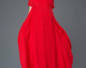 Plus size clothing, Linen Dress, lagenlook, red linen dress, linen womens clothing, maxi dress, womens dresses, Asymmetrical Dress C901