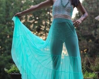 Aquamarine Embroidered Mesh Dress