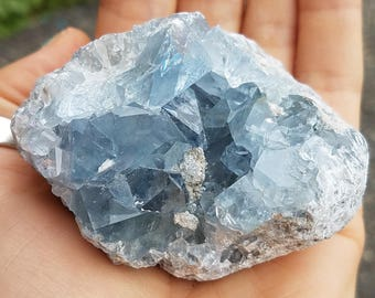 Blue Celestite Crystal Geode Sparkly Chunk, Gemstone Goddess Crystal of intuition, awareness, third eye chakra energy love