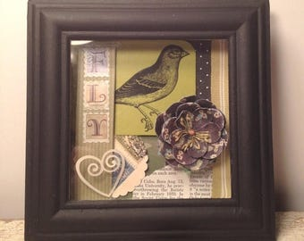 SUMMER SALE Original Art - Green and Black Bird Shadow Box Collage - FLY