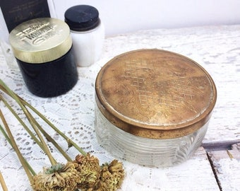 SUMMER SALE Beautiful Deco Look Glass and Brass Powder Jar