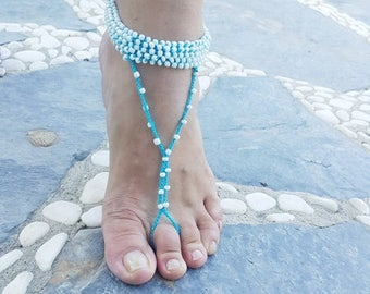 Wedding white Aztec Barefoot Sandals, Nude shoes,bridesmaids , Wedding, Victorian Lace, Sexy, Bridal Accessories, Anklet