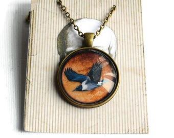 Magpie Necklace -  Bird Necklace - Gothic Necklace - Pendant Necklace - Magpie Jewellery - Tattoo Jewellery - Magpie Pendant - Bird Jewelry