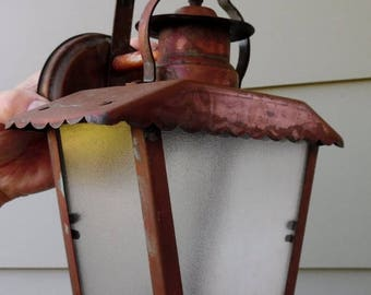 ON SALE Vintage, Copper, Wall, Porch Light, Light Fixture, Sconce, Cottage, Cottage Style, Lantern