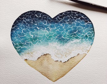 Ocean heart watercolor painting. Only one available.