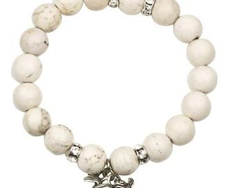 ON SALE White Beaded Skull Bracelet with Natural Stones