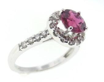 18k White Gold Pink Tourmaline & Diamond Fashion Ring 200-15