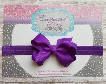 Purple Headband, Baby Headband, Bow Headband, Baby Headbands, Infant Headband, Newborn Headbands, Purple Bow, Purple Baby Headband