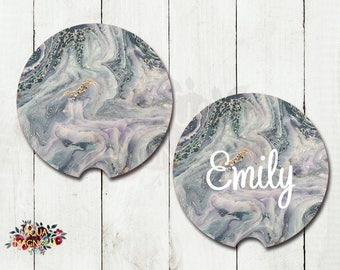 Monogrammed Marble Design Coasters - Gray & Teal - Stocking Stuffer Personalized Car Coasters - Marble - Monogrammed Car Coasters