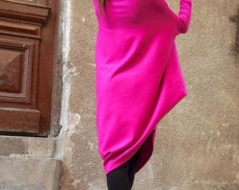 SALE NEW Oversize Hot Pink Loose Casual Top / Asymmetric Raglan Long Sleeves Tunic Knit Dress / Maxi Blouse Turtle neck Tunic A02058