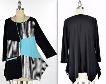 Free Shipping, Dare2bstylish Artsy tunic, Abstract tunic, Plus size tunic, Small to 3XL.  Mix and Match Beauty.