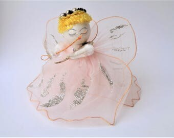 Vintage Large Tulle Net Angel with Spun Cotton Head Pink with Violin