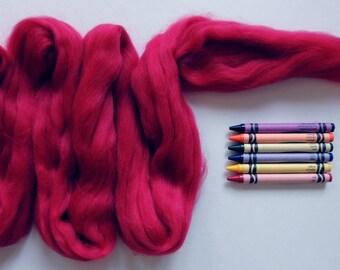 MERINO WOOL ROVING / Primitive Red 1 ounce / 21.5 micron merino fiber for nuno felting, wet felting, needle felting, doll hair, troll hair