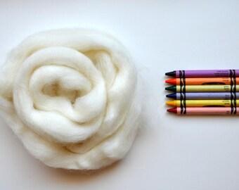 ROMNEY WOOL ROVING / Sweet Cream 1 ounce / romney roving for spinning, needle felting, wet felting, weaving, tapestry, doll hair