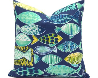 Outdoor Pillows Outdoor Pillow Covers Decorative Pillows ANY SIZE Pillow Cover Blue Pillow Navy Pillow Bryant Hooked Lagoon