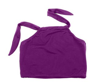 50% OFF Purple Swimsuit Top Cropped Halter Summer Crop Tops Solid Colors Basic Tops Beach Wear