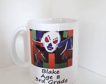Kids artwork custom coffee mug/picture/personalized/grandparent/mother/father/gift