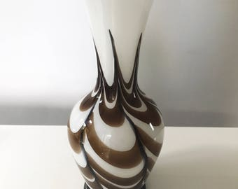 REDUCED Vintage Mid Century V.B. Opaline Florence Italian Empoli Brown and White Swirl Vase