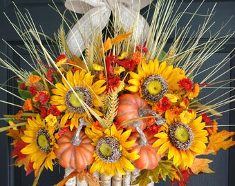 fall wreaths fall wreath outdoor wreaths for front door wreaths sunflowers wreath Thanksgiving welcome autumn Halloween wreaths