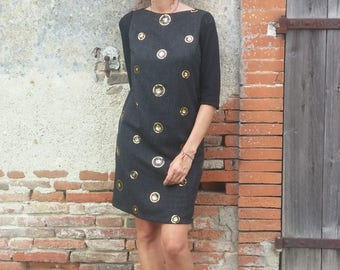 Straight dress / black / knitted sleeves / sequins medallions. 03017