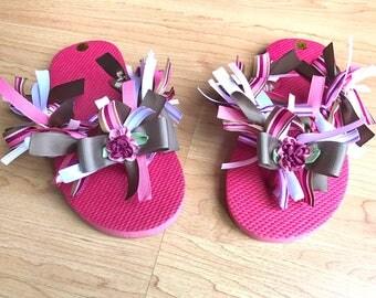 Girls Boutique Flip Flops in Mauve Colors