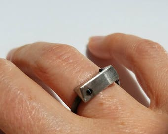 One of a kind sterling silver double spinel ring