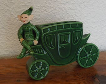Vintage Pixie Elf Wall Pocket Planter Vase Treasure Craft 1950's
