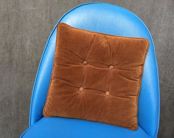 60's Square Corduroy Pillow, Dark Brown - 15""