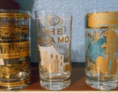 Vintage gold trimmed souvenir drinking glasses collection (3), The Alamo, San Francisco, Kings Canyon, Sequoia National Park