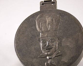 Vintage Hamburger Press, Aluminum, Embossed Chef on Front and Back Covers