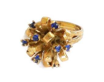 Retro Blue Sapphire Glass Adjustable Ring Size 7