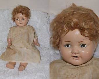 Vintage 1930s American Character Composition Baby Doll - Cloth Body - Blue Glass Sleep Eyes - Mohair Wig - Needs TLC