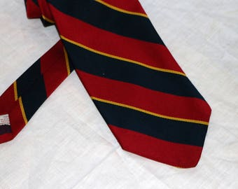 "1960s Rooster ""Horse Dragoons"" Men's Tie - Red Blue Yellow - Skinny Tie - Ruffler Collection"