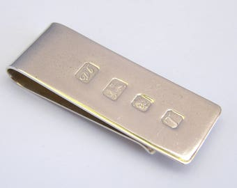 Late Vintage-Solid Sterling SIlver Money Clip-London-circa 1993