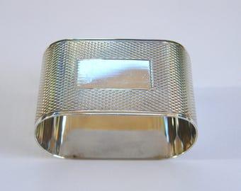 Vintage-Solid Sterling Silver Engine Turned Oblong Napkin Ring-B'ham-circa 1963