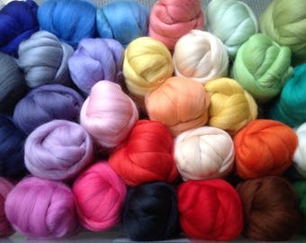 50 grams, 4 Colours, Lovely soft and fine, felting wool, Wool Tops, wool,