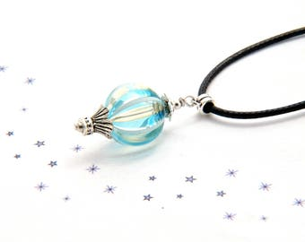 Pearl Choker necklace turquoise blue blown glass murano glass bubble