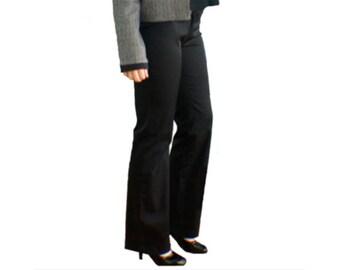 Pantalon noir droit en gabardine stretch, pantalon femme