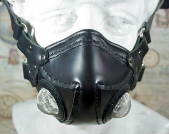 Steampunk altitude mask, aviator mask, black leather, respirator mask, post apocalyptic