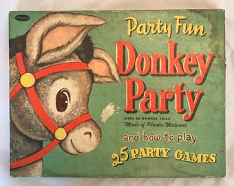 1952 Whitman Donkey Party - Pin the Tail on the Donkey - Party Fun - ADORABLE SET