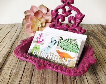 BOLD plum magenta pink business CARD HOLDER soap dish // ornate floral // bathroom office decor // victorian shabby chic // french country
