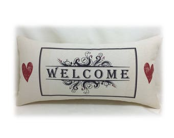 WELCOME Canvas Fabric Pillow