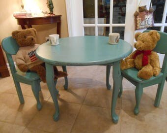 Child's Round Painted Table and Chairs - Child's Table and Chairs - Painted and Distressed Child's Table Set - Nursery Decor- Wood Table Set