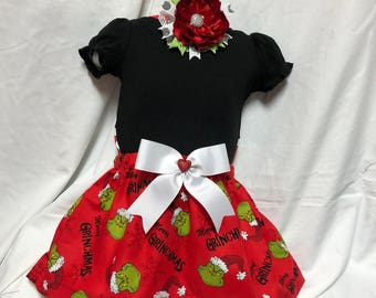Kid's Christmas Grinch Red and White Knee Length Skirt