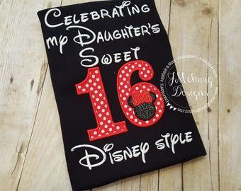 Disney-Inspired Birthday Shirt - Sweet 16 Daughter - Custom Birthday Tee 802c black red girl