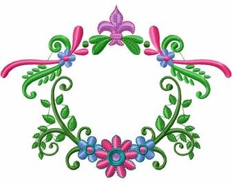 Floral Wreath Frame with Monogram - Custom Tee 12