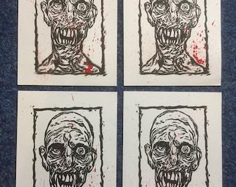 Zombie lino print (Blood & Guts)
