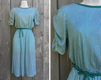 Vintage dress | 1980s Timely Trends green and white striped low back soft knit dress