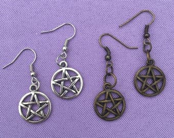 Pentacle Dangle Charm Earrings - Silver, Bronze, Antique, Pagan, Witchcraft - The Craft Collection