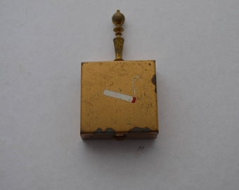 Vintage Industrial Snuff Box, Pill Box Hand Painted